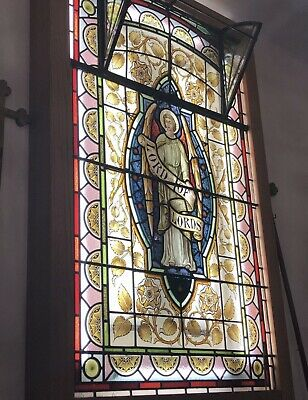 Large Eclectic Stained Glass Window Panel Hand Painted Architectural Church Old