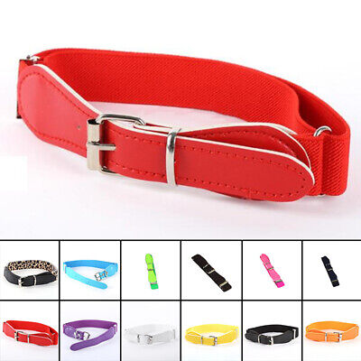 Candy Color Kid Boy Girl Adjustable Belt PU Leather Elastic Waistband Multicolor