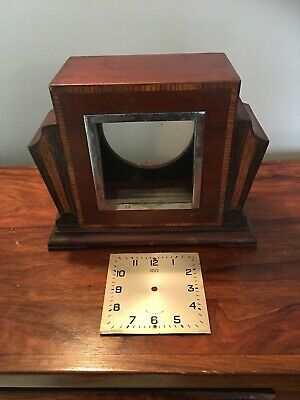 Art Deco Mantle Clock Foreign Inlaid Oak Wooden Case And Clock Face For Repair