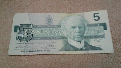 1986 - Canada $5 bill - Canadian five dollar note - Circulated - FPG7814604