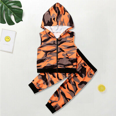 Toddler Kids Baby Girls Sleeveless Hooded Camouflage Tops Pants Autumn Clothes