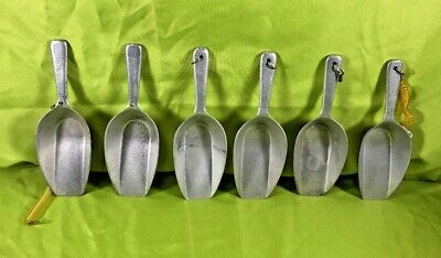 Cast Aluminum Dry Ingredient / Candy Scoops Marked 250mm Scoops w/ coil Lot of 6