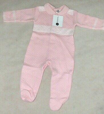 BOBBLE BABIES Pima Cotton Quilted Baby Grow size 6-9m Pink  (defect)
