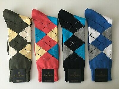 BROOKS BROTHERS Cotton Argyle Dress Casual Socks Green Coral Navy Grey NWT