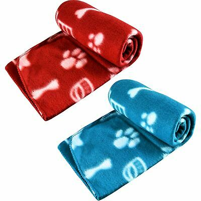 Soft Large Fleece Pet Blanket Paw Print Design Small Dog Cat Animal Home Car Mat