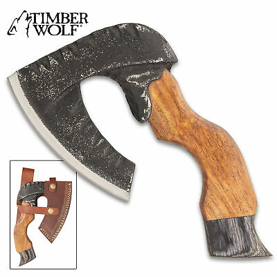 "8"" Timber Wolf Mini Short Axe Hatchet Forged Carbon Steel Wood Camping + Sheath"