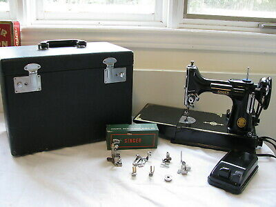 Singer 221-K featherweight sewing machine + attachment & case a 1952 working
