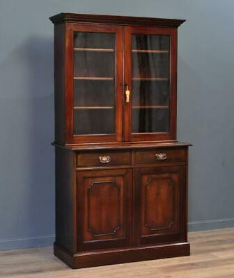Attractive Large Tall Antique Victorian Mahogany Glazed Door Bookcase Cabinet