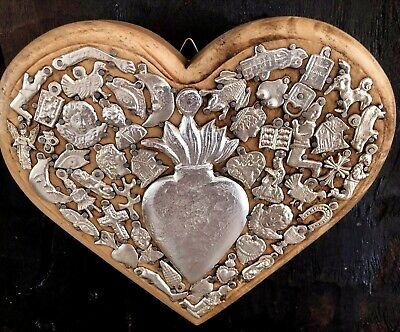 Natural WOOD MILAGROS HEART Ex Voto Sacred Heart Mexican Folk Art