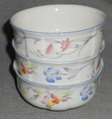 Set (3) Villeroy & Boch RIVIERA PATTERN Soup/Cereal Bowls MADE IN FRANCE