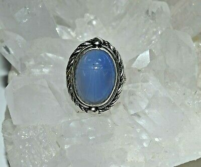 Vtg Carved Blue Chalcedony Scarab Sterling Silver Egyptian Ring sz 4.5