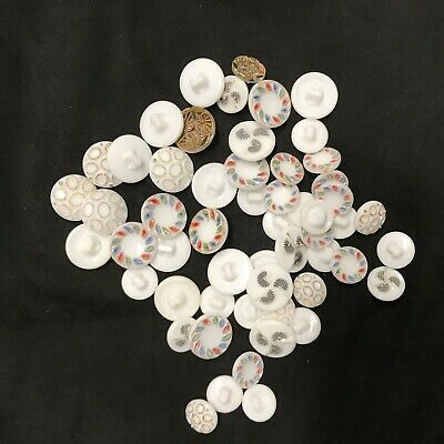 Button Lot of 55 Milk/White Glass Painted Buttons.  4 styles 2 Sizes 17mm 13mm