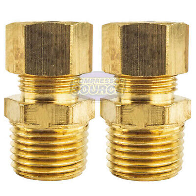 """2 Pack 1/2"""" x 1/2"""" Male NPT Connector Brass Compression Fitting for 1/2"""" OD Tube"""