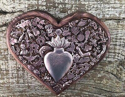 MILAGROS HEART Ex Voto Sacred CORAZON Mexican Folk Art Thick Carved Wood