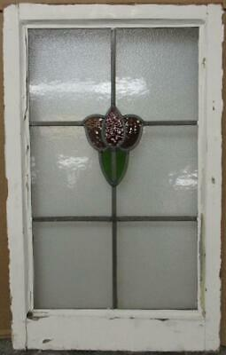 "MIDSIZE OLD ENGLISH LEADED STAINED GLASS WINDOW Abstract Floral 18.25"" x 29.75"""
