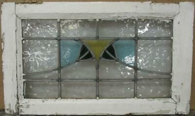 "MIDSIZE OLD ENGLISH LEADED STAINED GLASS WINDOW Nice Abstract Sweep 23.75"" x 14"""