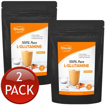 2 x MORLIFE L-GLUTAMINE PURE POWDER MICRONISED MUSCLE RECOVERY SUPPLEMENT 500g