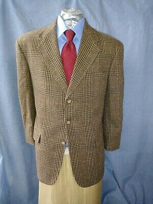 Tommy Hilfiger Wool 42R Brown Tartan Plaid 3B Mens Blazer Sport Coat Jacket Usa