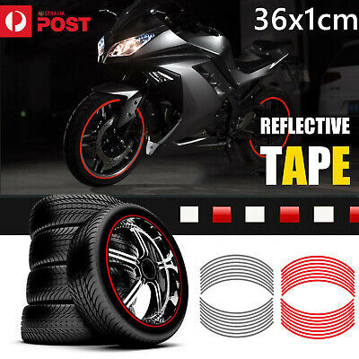 """Rim Stickers Red White Reflective Tape 6mm 17"""" Motorcycle Motorbike 16 Strips AU"""