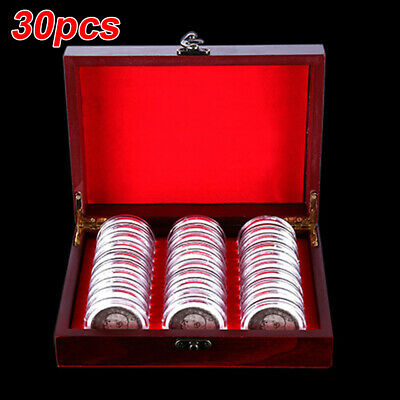 30pcs Clear Plastic Coin Display Cases Capsules Storage Holder Container Inserts