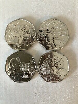 Paddington Bear 50p Pence Coins Complete 2018/2019 Set Of 4 Coins Brand New