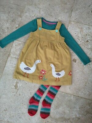 Immaculate Boden Geese Cordaroy Dress Top & Tights Set Age 3-4