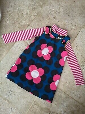 Immaculate Boden 60's Style Cordaroy Dress & Stripe Top Set Age 3-4
