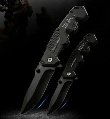 Quick Open Knives Black Folding Pocket Knife Tactical Survival Camping Hunting