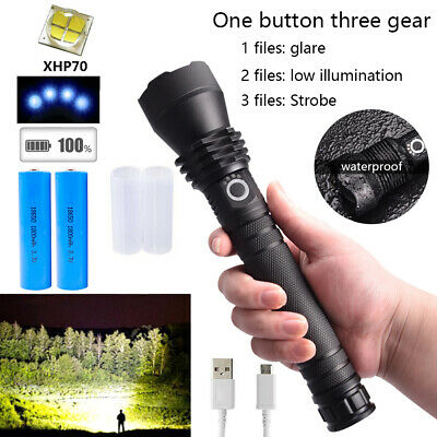 200000LM XHP70 Super Bright LED Torch Flashlight Tactical Zoomable Rechargeable
