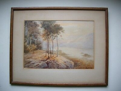 old original vintage signed small watercolour painting