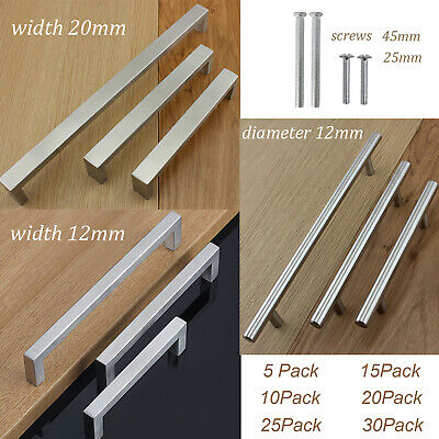 Brushed Nickel Kitchen Cabinet Handles Drawer Pull Stainless Steel Cupboard Knob