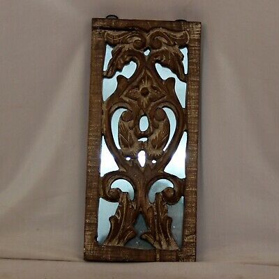 1850'S Antique Wall Haning Hand Carved Wooden With Glass - 11375