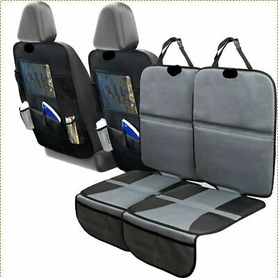 Car Seat Protector Set with Tablet Holder Kick Mat Cover Thickest Padding 2 Sets