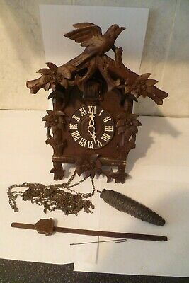 Antique Black Forest Carved Wooden Cuckoo Clock Early 1900s Spares or Repair