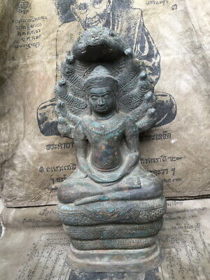 Antique So Big Phra Buddha Statue of Naga Nakprok Ancient Power Rare Thai Amulet