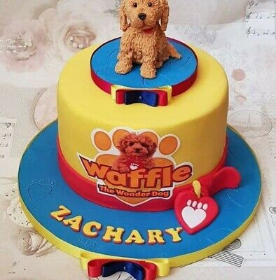 Waffle The Wonder Dog Personalised Edible Icing Cake Topper & 12 Cupcakes