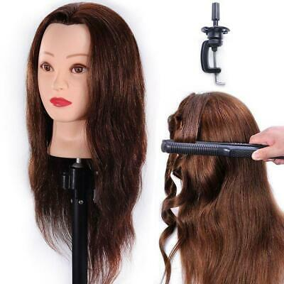 HAIREALM Training Head Hairdressing 100% Real Human Hair Styling Mannequin...