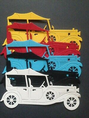 5 Multi- Coloured Vintage Car Diecuts  - great for Cardmaking/Scrapbooking