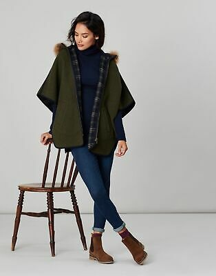 Joules Womens Everly Reversible Cape in NAVY CHECK