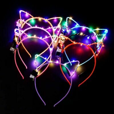 LED Headband Cat Ear Glowing Dark Hair Clip Headwear For Party Girl Kids Gift UK