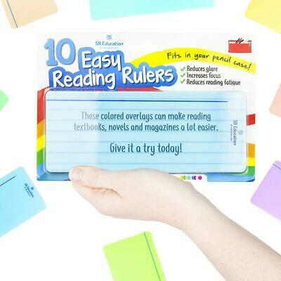 10 x Dyslexia Reading Strips with Coloured Overlays. Tracking Rulers...
