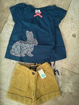 Bnwt Boden Rabbit Applique Blouse & Cordaroy Winter Shorts Age 5-6