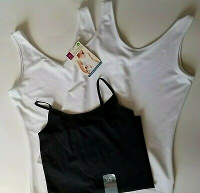 3 Small Camisoles: 2 White Two Way Slimming 1 S Black Seamless Cami Camisole New