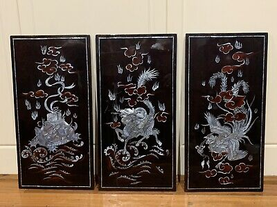 Vintage Laquered 3 Panel Asian Wall Art Hanging.