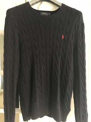 Polo Ralph Lauren Navy Cable Knit Jumper Sweater Men's Size M Cotton Crew Neck