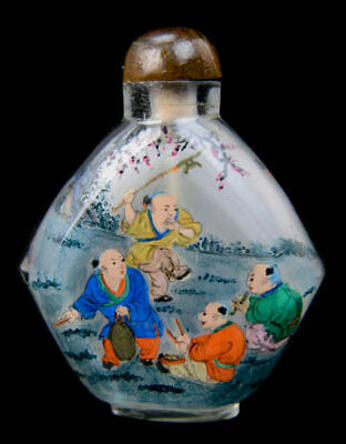 Vintage Signed Inside Painted Frosted Glass Chinese Snuff Bottle 18/19th |152053