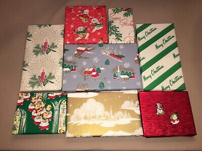 Vtg Christmas Wrapping Paper Gift Wrap Packages For Display Snowmen Winter Scene