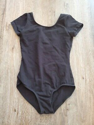 Bloch Girls Size 6x / 7 short sleeve scoop neck Ballet Leotard dance black EUC