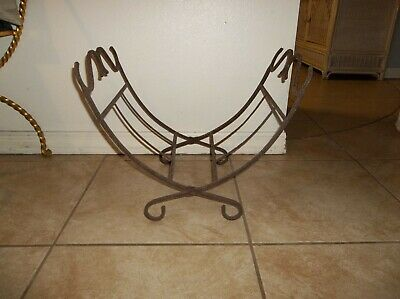Cast Iron Folding Firewood Log Rack Carrier Fireplace Wood Holder Primative