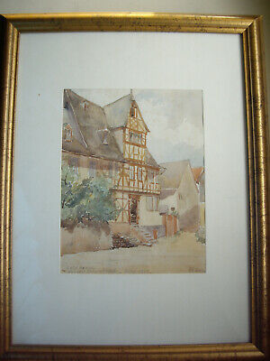 old antique original watercolour picture signed and dated 1902